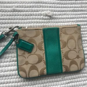 Coach Wristlet NWOT Green Trim Tan Monogram
